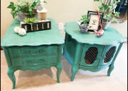 Vintage Pair French Provincial Nightstands End Tables Dovetailed Drawer Green