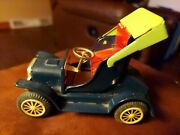 Vintage 1950's Blue Metal Friction Push And Go Antique Model T Toy Car