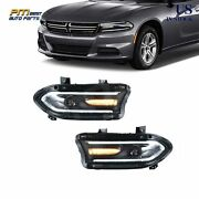 Pair Led Headlights Dual Beam Projector For Dodge Charger Srt Gt Sxt 2015-2020