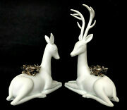 Pair White Deer Candleholders Doe And Stag Winter Silhouette Department 56 New