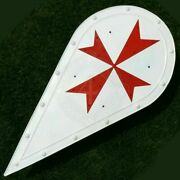 Medieval Shield Steel Knight Almond-shaped Shield With Maltese Cross