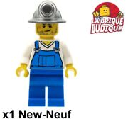 Lego Figurine Minifig City Ouvrier Miner Mineur Casque Salopette Cty0310 Neuf