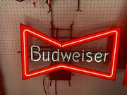 Vintage Budweiser Beer Bow Tie Neon Bar Advertising Sign Rare Fully Operational