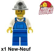 Lego Figurine Minifig City Worker Miner Pit Worker Helmet Dungaree Cty0310 New