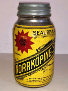 Antique Vintage Norrkoping Snus In Glass Jar. Country Store Advertising. Minty