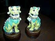 Pair Chinese Foo Dogs Statues - Hand Painted Porcelain -excellent Conditionandnbsp Andnbsp