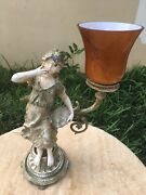 Vintage Early 1900's Cast Iron And Porcelain Victorian Figurine Lamp Rare