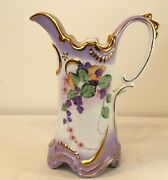 Victorian Style Pitcher Porcelain Purple Gold Painted Flowers Ewer Shape Marked