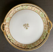 Nippon Plate M-in-wreath Double Handle Gold Beaded Trim 8andrdquo Hand Painted High Rim