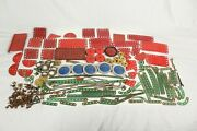 Vintage Early Meccano Metal Red Green Wheels Job Lot Brass Mixed Bundle Parts