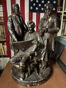 1868 John Rogers Statue Group Council Of War Abraham Lincoln Grant Stanton