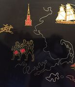 Mcm Couroc Of Monterey Black Inlaid Serving Tray Cape Cod Boston Lighthouse Lrg