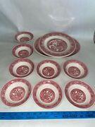 11 Pc Willow Ware Dinner Plate, Platter, Bowls Royal China/ Vintage Red And White