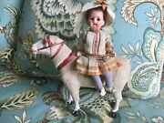 Rare Antique Candy Container Pull Toy German Bisque Doll On Lamb C1910
