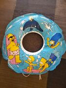 Rare Htf Vintage 1990 The Simpsons Inflatable Pool Ring With Rope