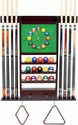 Cue Rack Only - 8 Pool - Billiard Stick And Ball Wall W Clock Mahogany