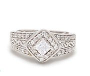 Sterling Silver American Cubic Zirconium Cz Band Ring Wedding Engagement Ring