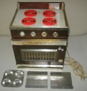 Damaged Vintage Sears Junior Chef Toy Oven W/ Bake Pans Mid Century Free Ship