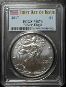2017 Silver Eagle Pcgs Ms70 First Day Of Issue Fdoi