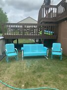 Vintage Metal 50andrsquos Three Person Glider With Two Matching Chairs Patio Set