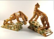 Pair Of Mid-century Ceramic Panthers Designed By Royal Hickman For Royal Haeger