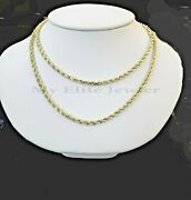 Real 14k Gold Rope Chain 3mm 4mm Necklace Solid 14kt Yellow Gold 16-30 Pura Oro