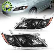 For 2007 2008 2009 Toyota Camry Projector Black Headlights Headlamps 07-09 Lamps