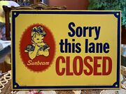Vintage Sunbeam Bread Advertising Sign-check Out Lane Closed-original Sign