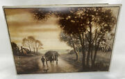 Uneeda National Biscuit Cookie Box Hinged Tin Country Farm Scene Man Horse Dog