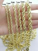 10k Yellow Gold Rope Chain Necklace 18-30 Men Women Inch 4mm- 10mm Real 10 Kt