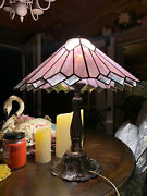 Large Flawless Antique Pink Stained Glass Lamp