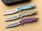 Wharncliffe Folding Knife Pocket Hunting M390 Steel Titanium Handle Collectible