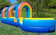 Inflatable 30 Foot Long Slip And Slide 100 Pvc Vinyl With Pool And Blower