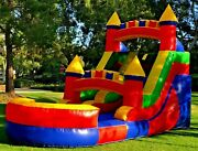 Commercial Grade Pvc Vinyl Inflatable Water Slide 12ft Rainbow With 1hp Blower