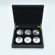 6pcs Disney Mickey Mouse Silver Plated Coin With Wooden Box Commemorative Coins