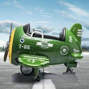 Tobbi 12v Electric Ride On Plane Toy With Foldable Wings Remote Control Green