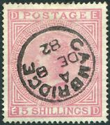 Sg 134 5/- Rose Plate 4 Cambridge Cds. A Very Fine Used Example