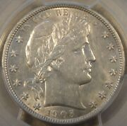 1905-o Barber Half Dollar 50c Pcgs Certified Au55 Lustrous 58 In My Opinion