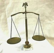 Vtg. Brass Balance Of Justice Scale Eagle Top Marble Base - Mid-century