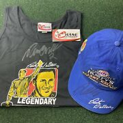 Vintage Autograph Rusty Wallace New Tank Top And Miller Light Hat Signed Nascar
