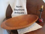 Antique 1800s New England Cherry Wood Hand Hewn Trencher Bowl W Hand Grips Aafa