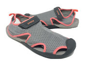 Crocs Swiftwater Mesh Sandal Womenand039s Size 10 Gray/neon Orange Excellent
