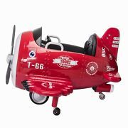 Tobbi 12v Electric Ride On Plane Toy With Foldable Wings Remote Control Red