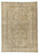 8.5x12 Ft Vintage Sparta Wool Rug. Beige Light Brown And Faded Green Colors.