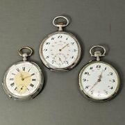 3 Large Attractive Antique Vintage Swiss Silver Pocket Watches