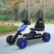 Kids Go Kart Pedal Power 4 Wheeled Ride On Toy Strong Metal Frame Ages 3-6 Blue