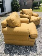 Drexel Heritage - Antique Cushioned Lounge Club Arm Chairs Gold Tan - Goose Down