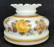 Vintage Hand Painted Flowers Floral Rose Lamp Shade Globe Hurricane 6.5 Opening