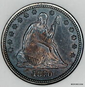 Toned Better Date Old Anacs Ms60 1870 Seated Liberty Quarter 25c Bc80
