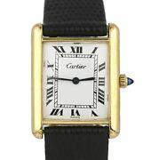 Vintage Ladies Tank 1276 14k Gold Plated Manual Roman Leather Watch
